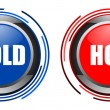 Cold and hot glossy button set isolated over black - Stock Photo