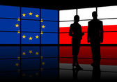 Multimedia center european union and poland presentation — Stock Photo