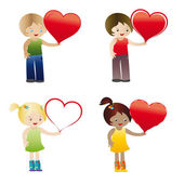 Kids with heart — Stock Vector