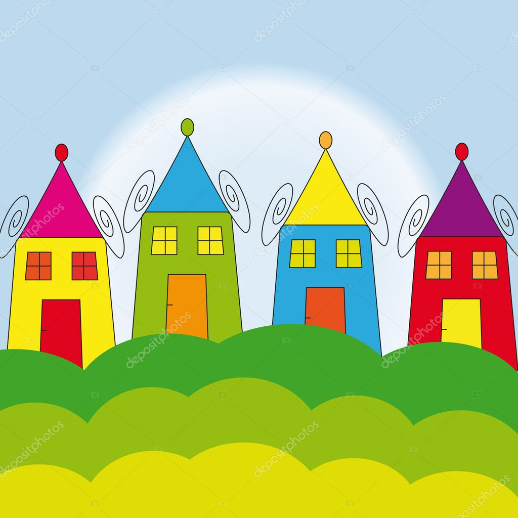 Colourful houses in children dreams — Stock Vector #4511141