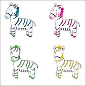 Zebra differents color — Stock Vector
