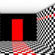 Perspective Empty room with door vector — Imagen vectorial