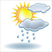 Sun rain cloud icon vector — Stock Vector