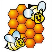 Vector bee and honeycombs — Stock Vector