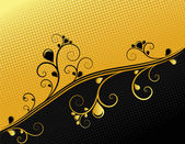 Black and gold ornamental background, vector — Vettoriale Stock