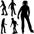 Stock Vector: Silhouettes of rollerblade girl
