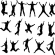 Vector de stock : Jumping silhouettes