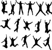 Jumping silhouettes — Vector de stock