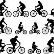 Bicyclists silhouettes - Stok Vektör