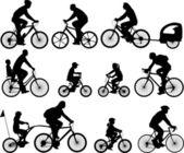 Siluetas de los ciclistas — Vector de stock