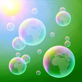 Soap bubbles on green background — Stok Vektör