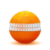 Orange and measuring tape — Stock Vector