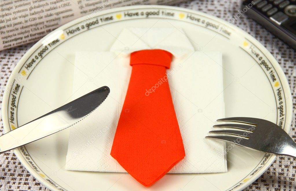 Concept lunch made by business shirt and tie — Stock Photo #4433349