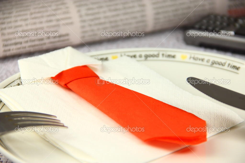 Concept lunch made by business shirt and tie — Stock Photo #4433358