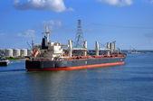 Bulker-vessel entering the port — ストック写真