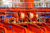 Mooring winches on deck of chemical tanker — Stockfoto