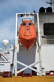 Lifeboat on the aft of ship. — Stock Photo