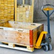 Pallet jack box — Stock Photo