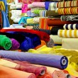 Stock Photo: Fabric rolls warehouse