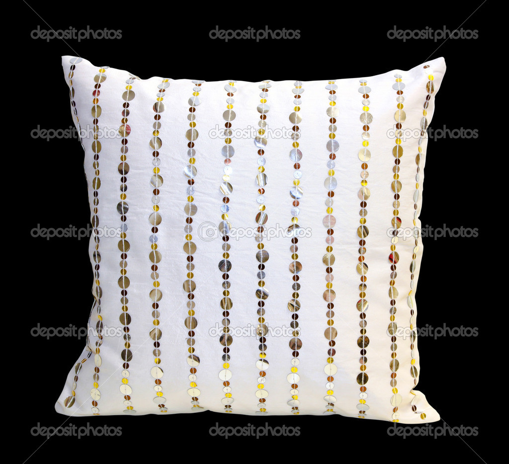 Sequin white pillow isolated with clipping path included — Stock Photo #4521742