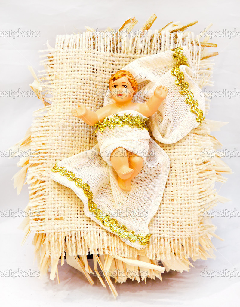 Mythical scene with birth of Jesus in a crib — Stock Photo #4524255