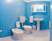 Blue bathroom — Stock Photo