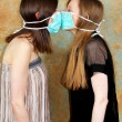 Two masks against — Stock Photo