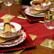 Gold Christmas table — Stock Photo
