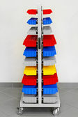 Colourful workshop trolley — Stock Photo