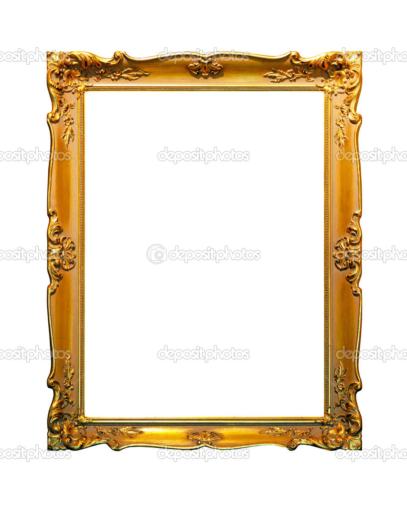 Portrait golden frame isolated included clipping path — Stock Photo #5266394