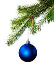 Blue christmas decorations on the fir tree — Stock Photo