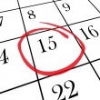 Monthly Calendar - 15th Day Circled — Stock Photo #4434344