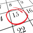 Monthly Calendar - 15th Day Circled - Stock Photo