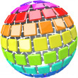 Colorful Swatches in Globe Sphere Pattern — ストック写真