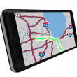 Navigation GPS Software on Smart Phone - Stock Photo