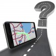 Navigation GPS Unit on Road - Question Mark — Stock Photo