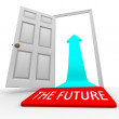 The Future - Door Mat Open Door Arrow — Stock Photo