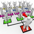 Rallying the Troops - Leader with Bullhorn - Org Chart - Stok fotoğraf