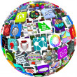 Royalty-Free Stock Photo: App Icons in a Sphere Pattern