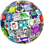icone di app in un modello di sfera — Foto Stock