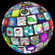 Stock Photo: Apps in Sphere Pattern - World of Mobile Applications