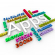 Apps - Smart Phone Application Word Collage - Stock fotografie
