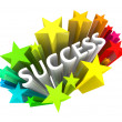 Success - Word Surrounded by Colorful Stars - Stock Photo