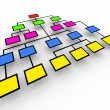 Organizational Chart - Colorful Boxes - Stock Photo
