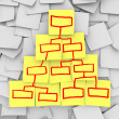 Organizational Chart Pyramid Drawn on Sticky Notes - Stockfoto