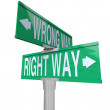 Right vs Wrong Way - Two-Way Street Sign — Stock Photo