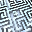 Money in Maze - Dollar Sign in Middle — Stock Photo