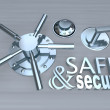 Safe and Secure - Words on Vault - Stock Photo
