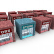 Many Stores - One Stands Apart - Stock Photo