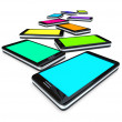 Smart Phones - Array of Colored Screens — Stock Photo #4439849